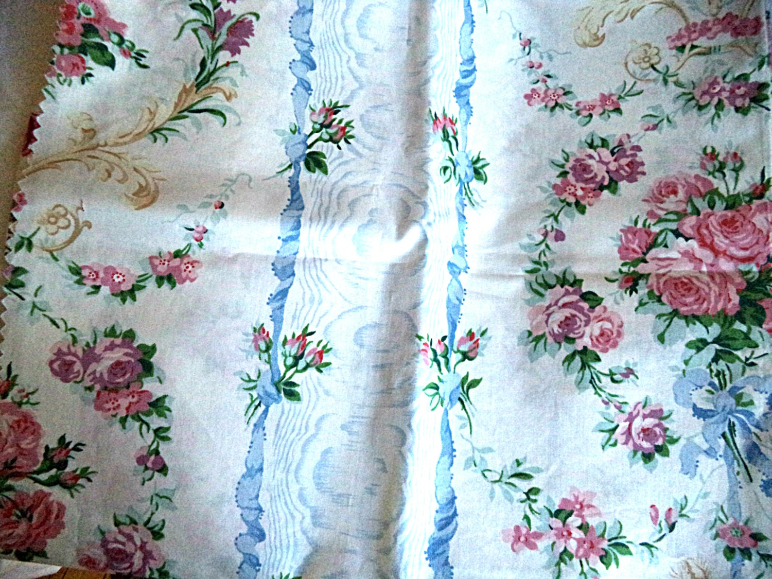 Clearance 6 squares 27 chintz cabbage roses fabric by for Chintz fabric