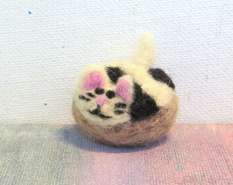 Miniature Needle Felted Donut Cow Cat! Black and White Spotted Tiny Doughnut Kitty
