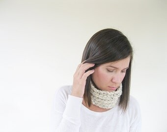 Cream Neck Warmer Neck Scarf | Chunky Scarf Infinity | Crochet Neckwarmer | Trending Gifts