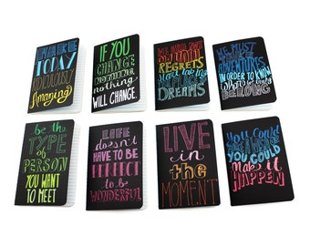 PRE-ORDER] Set of 8 Inspirational Paper Pocket Journals Notebooks Party Favors Jotter Notepad Motivational Quotes Positive Vibes Gift