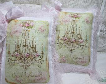 Chandelier LAVENDER SACHETS, Pink Roses Chandelier, French Script Sachet, Chandelier Sachets, Party Favors!!!!