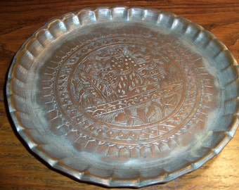 Vintage Round Etched Brass Tray India Very Old