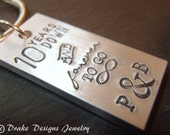 personalized keychain tradional aluminum 10 year anniversary gifts for him or her 10th anniversary gifts for men or women