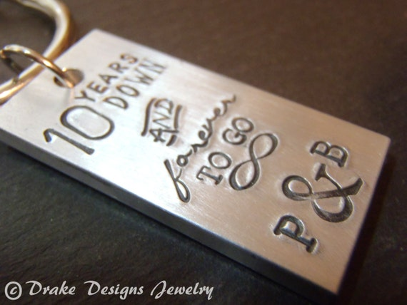 10th Wedding Anniversary Gift For Him: Personalized Keychain Tradional Aluminum 10 Year Anniversary