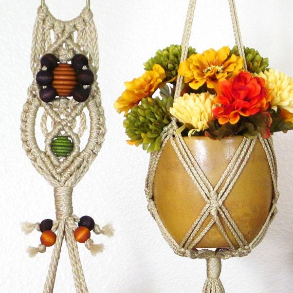 6 inch flower pot holder fall macrame by littlemarveldesigns