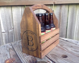 Personalized Rustic 6-pack beer bottle carrier 12 oz longnecks wood six pack homebrew tote new gift wedding groomsman birthday fathers day