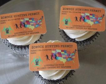 Zombie Permit - Edible Cake Topper 6 Count