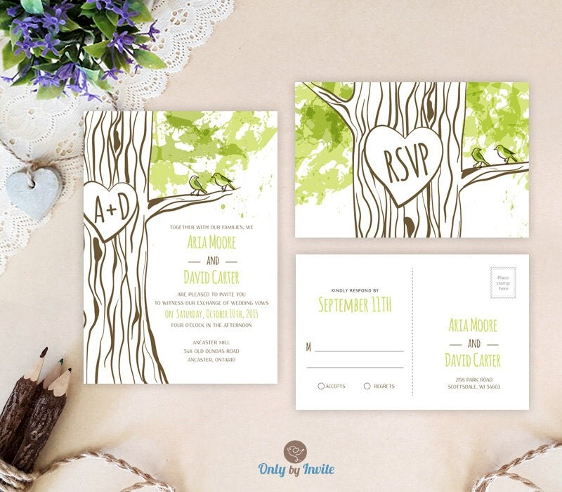 Woodland Wedding Invitation Sets Printed Heart By OnlybyInvite