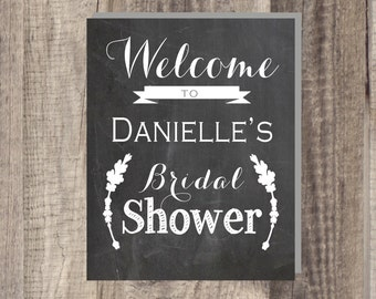Instant Download Welcome Succulent Bridal Shower Sign - Customizable Bridal Shower Welcome Sign - Chalkboard Print 8x10 or 11x14