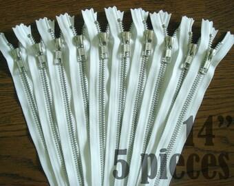ykk white metal zippers, white zippers, jean zippers, silver metal zipper, aluminium zipper - 14 inch - 5 pieces