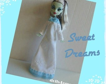 Monster High Doll Clothes - Custom Handmade Fashion - Sweet White NIGHTGOWN with baby-blue lace- by dolls4emma