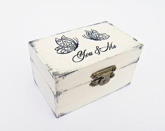 FREE SHIPPING, Wedding antique white ring bearer box / pillow, Wooden ring box, Pillow alternative, Wedding keepsake box, Card box