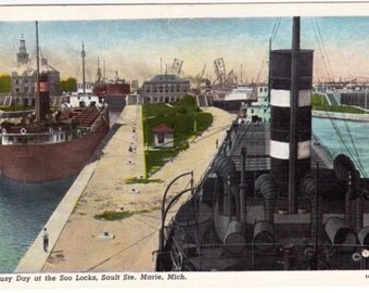 Vintage Postcard Busy Day at the Soo Locks, Sault Ste. Marie, Mich., Ore Boats postcard c.1920s