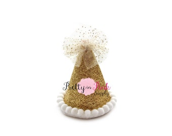 """2"""" Gold MINI Glitter Party Hat-You Choose Quantity-DIY 1st Birthday Photo Prop- Party Hat-Unfinished Party Hat-DIY Supply"""