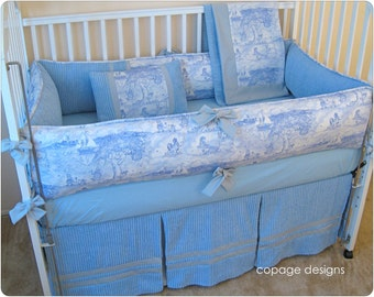 Blue Animal Toile Baby Nursery 4-Piece Crib Bedding Set / Includes: Bumper Pad, Crib Skirt, Blanket, and Accent Pillow
