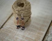 ON SALE - Jewelry Closeout Sale - Bronze and Blue Three Tier Beaded Earrings - Handmade Silver Drop Earrings