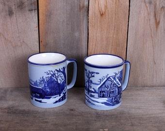 Pair 1970s Era Blue Snow Winter Farm Scene Ceramic Coffee Tea Mugs Made in Japan