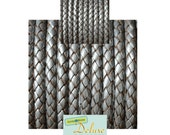 DL05121 - 0.40 meter x 5.00mm Grey, Round Braided Leather Cord
