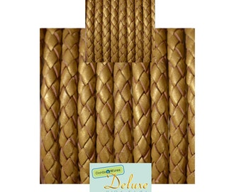 DL05120 - 0.40 meter x 5.00mm Gold, Round Braided Leather Cord