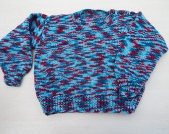 Hand knitted children's red and blue jumper 4 - 5 years - boy's sweater - girls sweater - children's knitted clothes - knitwear