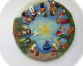 Seasonable circle, Picture,tapestry,Wall hanging,Wet felted,Needle Felted.Wool painting. Waldorf