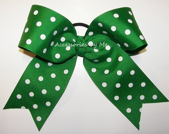 Green Cheer Bow, 6 Inch Big Dance Clip, Green White Cheer Bow, Cheerleader Bow, Softball Bows, Volleyball Bows, Soccer Bows, Bulk Price Bows