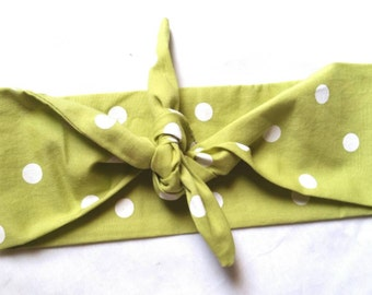 Rockabilly green polka dot bandana