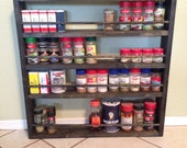 """Custom  36"""" tall x 24"""" wide Rustic Spice Rack with wooden dowels"""