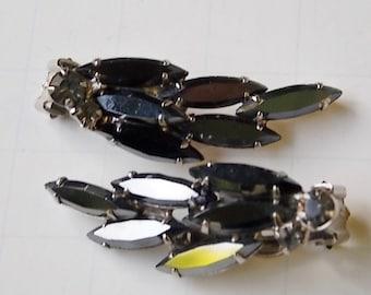 Vintage Navette Rhinestone Clip On Earrings