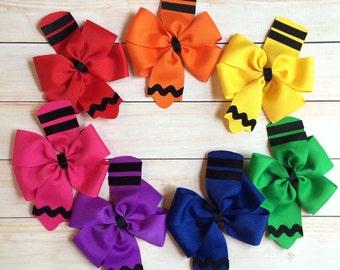 Crayon Bows - Back to School Bows - Pinwheel Bow - Pinwheel Crayon Hair Bow - School Bows - 1st Day of School Bow - Girls Hair Bows