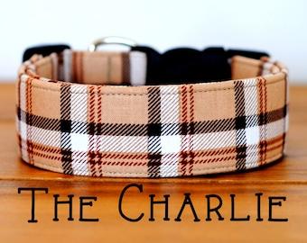 "Dapper Camel,Beige,Light Chocolate Plaid Dog Collar ""The Charlie"""