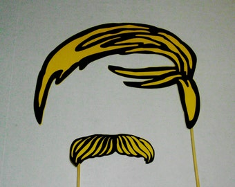 Yellow Hair and Mustache Photo Booth Prop Photobooth Prop
