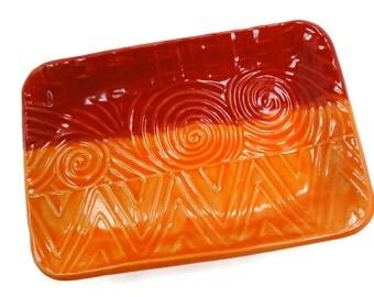 Red Orange Dish, Boho Decor, Orange Kitchen Decor, Candy Dish, Trinket Dish, Orange Red Plate, Boho Kitchen, Red Pottery, Bohemian Decor