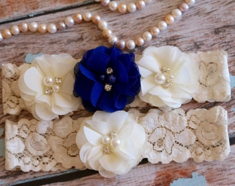 Your Color ,Royal Blue Garter Set , Wedding Garter , Ivory and Something Blue Garter , Garter , Toss Garter , Garter Set , Bridal Garter