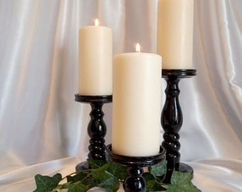 High Gloss Black, Pillar Candle Holders Set of 3