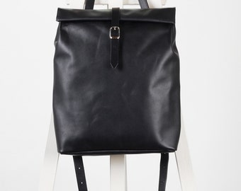 Black leather backpack rolltop rucksack / To order