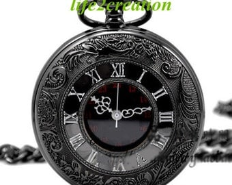 mens pocket watch on quartz pocket watch black chrome pocket watch pendant r number pocket watch groomsmen gift mens pocket watch 800 998