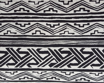 Aztec Tribal Print Cotton Jersey Knit Yard Black & Ivory 8/15
