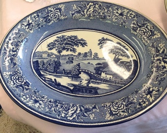 Vintage Daher decorated ware blue willow style metal tray made in England