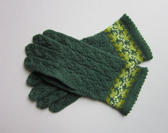 Hand Knit Wool Gloves for Women Green Gloves Knit Lace Wool Gloves