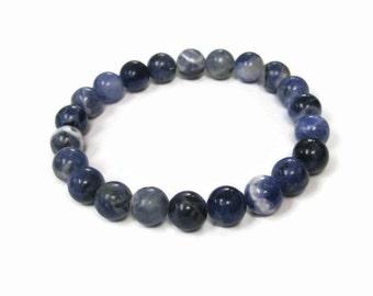 Sodalite 8mm Stretch Bead Bracelet, Gemstone Stretch Bracelet, Stackable Beaded Bracelets
