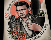 Johnny Cash Tattoo Flash Art Print
