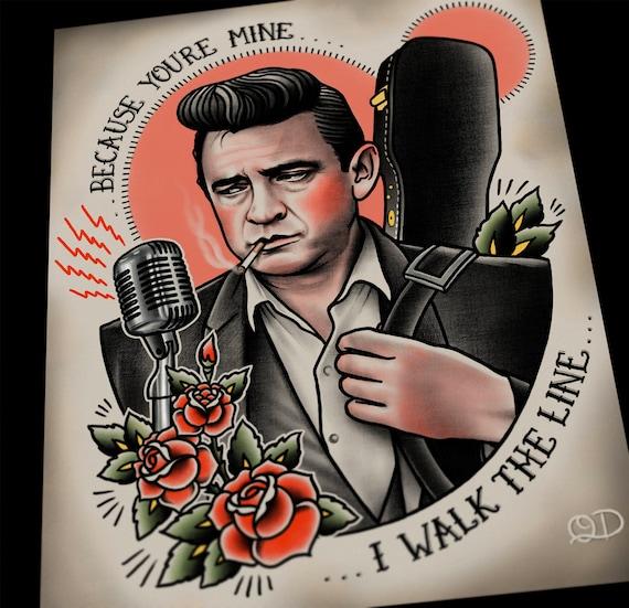 Tattoo Designs Johnny: Johnny Cash Tattoo Flash Art Print