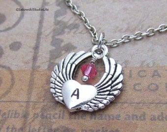 Winged Heart Charm Necklace, Personalized Hand Stamped Initial Birthstone Antique Silver Heart with Angel Wings Charm Necklace