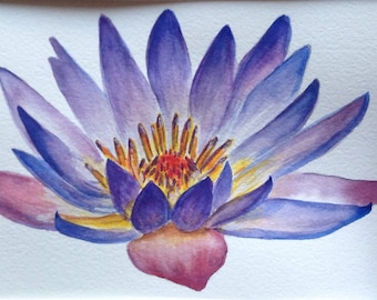 Water lily watercolor print garden purple nature flower wall art