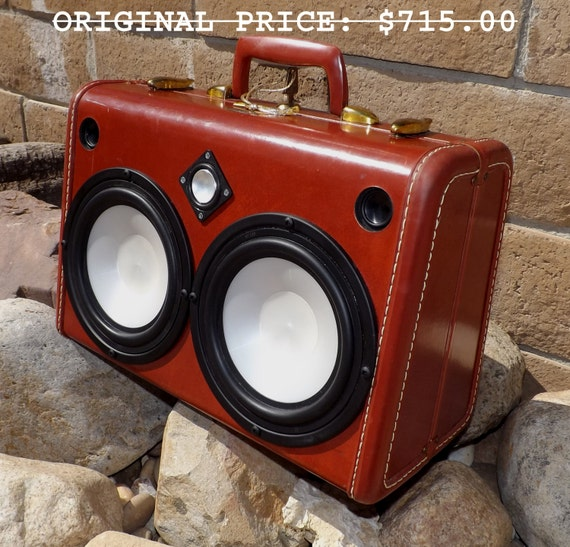 SOLD Vintage Suitcase Boombox RechargeableGlowing Speakers