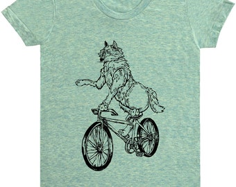 Wolf On Bicycle T Shirt - Women's American Apparel Tri-Blend Track Tee - Bicycle Shirt.Bicycle Tee.Wolf Tee Shirt.Bicycle Shirts.Black Print