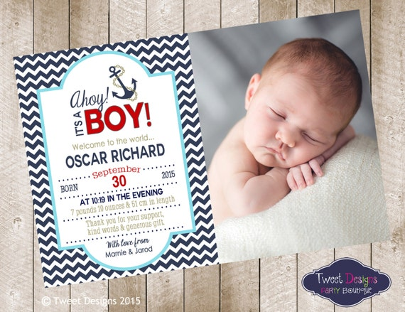 nautical birth announcement printable baby by