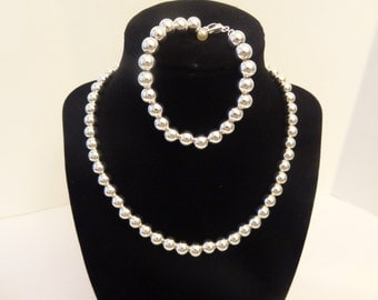 Sterling Silver 925 Beads Necklace Set