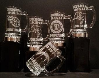 Groomsman Gift Mugs Set of 5 Mugs, Personalized Groomsman Mug, Personalized Beer Sports Mug, Personalized Groomsmen Gift